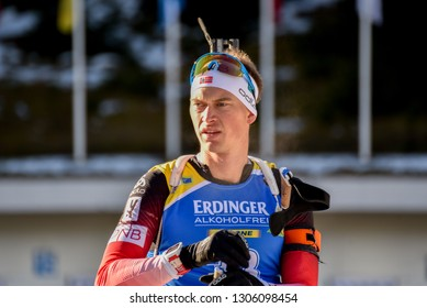 Pokljuka, Slovenia - December 7, 2018: Henrik L'Abee-Lund of Norway competes in the  sprint at the BMW IBU World Cup Biathlon 1