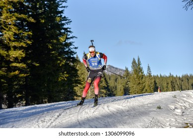 Pokljuka, Slovenia - December 7, 2018: Tarjei Boe of Norway competes in the  sprint at the BMW IBU World Cup Biathlon 1