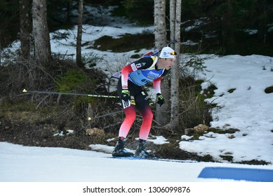 Pokljuka, Slovenia - December 7, 2018: Vetle Sjastad Christiansen of Norway competes in the sprint at the BMW IBU World Cup Biathlon 1