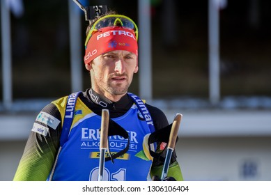 Pokljuka, Slovenia - December 7, 2018: Jakov Fak of Slovenia competes in the sprint at the BMW IBU World Cup Biathlon 1