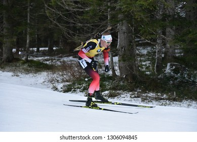 Pokljuka, Slovenia - December 9, 2018: Johannes Thingnes Boe of Norway competes in the pursuit at the BMW IBU World Cup Biathlon 1