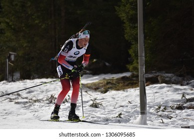 Pokljuka, Slovenia - December 9, 2018: Lars Helge Birkeland of Norway competes in the  pursuit at the BMW IBU World Cup Biathlon 1