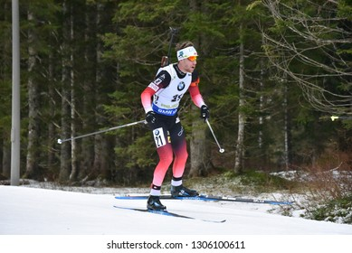 Pokljuka, Slovenia - December 9, 2018: Erlend Bjoentegaard of Norway competes in the  pursuit at the BMW IBU World Cup Biathlon 1