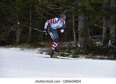 Pokljuka, Slovenia - December 9, 2018: Sean Doherty of USA competes in the pursuitl at the BMW IBU World Cup Biathlon 1