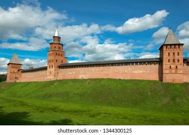 Pokrovskaya, Kokuy and Prince Tower. Walls and towers of the Novgorod Kremlin, Russia.