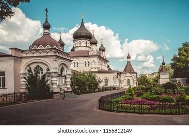 Pokrovsky Abbey. Architecture view. Historical buildings. Ukraine, Kyiv 2018