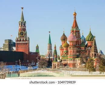 Pokrovsky Cathedral on Red Square in Moscow. St. Basil's Cathedral in the winter capital of Russia.