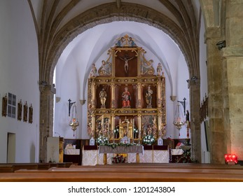 POLA DE ALLANDE, SPAIN - AUGUST 22, 2018: View into the Iglesia de San Andres on August 19, 2018 in Pola de Allande, Spain