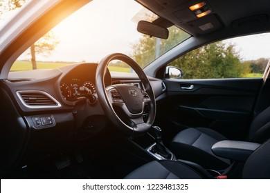 Polack, Belarus - September 9, 2018 : Hyundai Accent Varna or Solaris 2017 Interior with sunlight.