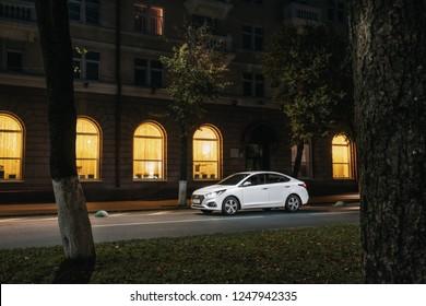 Polack, Belarus - September 9, 2018 : Urban car Hyundai Accent Varna or Solaris 2017 in city at night