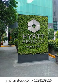 Polanco, Mexico City-July 24, 2016: Sidewalk entrance sign to the Hyatt Regency hotel in one of the city's busiest neighborhoods.