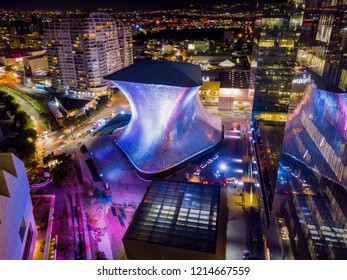 Polanco, Mexico - May 30, 2018: Panoramic aerial view of the famous Soumaya museum illuminated with city lights on a quiet night