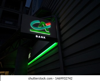Rzeszów, Poland 03.08.2019  Sign of credit agricole bank at night