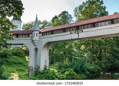 Lądek Zdrój, dolnośląskie / Poland - 09 16 2019: Covered Bridge in Ladek Zdroj
