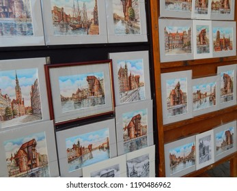 Gdańsk, Poland - 09.05.2018: Drawings showing the Old Town of Gdańsk