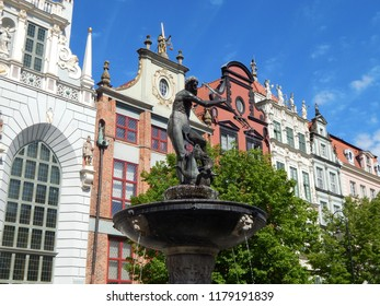 Gdańsk, Poland - 09.05.2018: Monument of Neptune in the Old  Town of Gdańsk