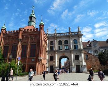 Gdańsk, Poland - 09.05.2018: Old Town in Gdańsk on a sunnny day