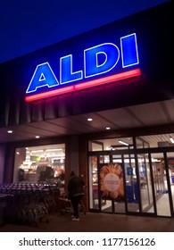 Kraków, małopolskie / Poland - 11/09/2018: Aldi Store entrance