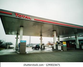 Bolesław, małopolskie / Poland - 11/14/2018: Total Gas Station day view