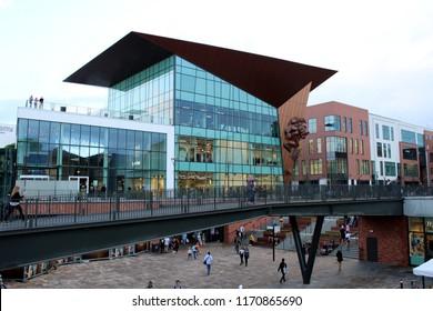 Gdańsk, Poland - 14.08.2018: Forum Gdańsk - a new shopping center in the city