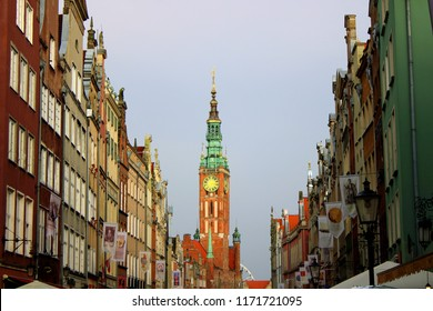Gdańsk, Poland - 14.08.2018: Old town in Gdańsk on a cloudy day