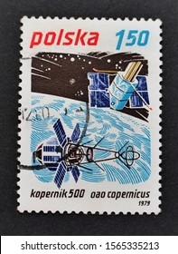 POLAND - 2019: The history of space flights at the old postage stamps. Kopernik 500 (copernicus). Polish post stamp.