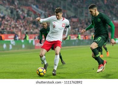 POLAND 23.03.2018, Wroclaw, Poland - Nigeria - friendly match of the national team: Robert Lewandowski