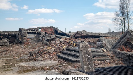Oświęcim, Poland: 27 MARCH, 2019: Ruins of Gas Chamber in Auschwitz 2 - Birkenau