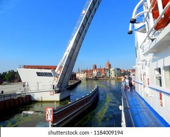 Gdańsk, Poland - 30.07.2018: Starting a cruise from Gdańsk to Hel through the Gdansk Bay