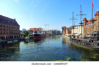 Gdańsk, Poland - 30.07.2018: Starting a cruise from Gdańsk to Hel through the Gdansk Bay