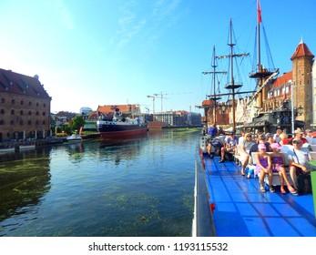 Gdańsk, Poland - 30.07.2018: Starting a cruise from Gdańsk to Hel trought the Gdańsk Bay, Poland