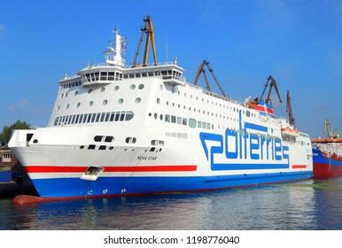 Gdańsk, Poland - 30.07.2018:A ship under repair at shipyard in Gdansk