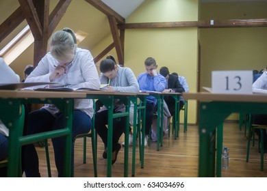 Boles?awiec, Poland 5 May 2017 unidentified students write Matura exam at school in Boles?awiec, Poland on 5 May 2017