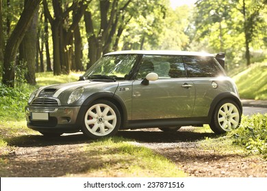 Poland, August 29 2014: Mini Cooper S in the forest