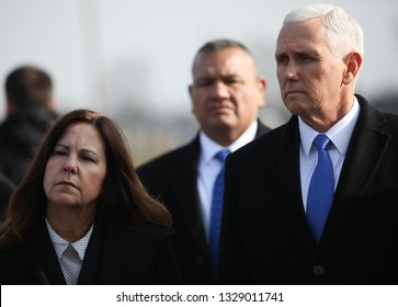 Poland, Auschwitz-Birkenau - 15 February 2019: current vice president of the United States of America Mike Pence (Michael Richard Pence) with wife Karen Pens