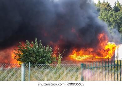 KARWIE?SKIE B?OTA, POLAND, Baltic Sea- AUGUST 2015: Fire camper trailer, Poland, Karwie?skie B?ota on August 15, 2015
