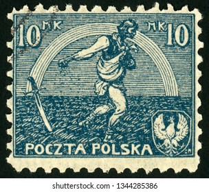POLAND - CIRCA 1921: post stamp printed in Polska shows sower and rainbow of hope; signing of peace treaty with Russia; Scott 154 A27 10m blue, circa 1921