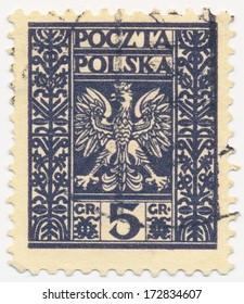 POLAND - CIRCA 1928: A stamp printed in Poland shows Eagle Arms, circa 1928