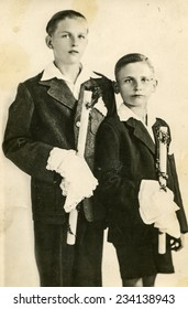 POLAND, CIRCA 1930s  - Vintage photo of little boys at the First Communion