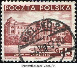 POLAND - CIRCA 1937 : stamp printed in Poland showing Lviv University now Ivan Franko National University of Lviv, circa 1937