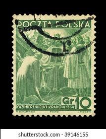 POLAND - CIRCA 1938: A stamp printed in Poland, presents Polish King Kazimierz Wielki, circa 1938.