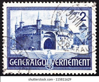 POLAND - CIRCA 1941: A stamp printed in the Poland under German Occupation shows Rondel and Florian's Gate, Krakow, circa 1941