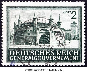 POLAND - CIRCA 1943: A stamp printed in the Poland under German Occupation shows Rondel and Florian'??s Gate, Cracow, circa 1943