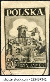 POLAND - CIRCA 1946: A stamp printed in Poland shows Bedzin Castle, Silesian Highlands, circa 1946