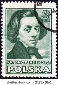 "POLAND - CIRCA 1947: A stamp printed in Poland from the ""Polish Culture "" issue shows Frederic Chopin, circa 1947."