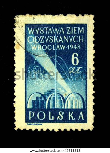POLAND - CIRCA 1948: A stamp printed in Poland devoted Exhibition lands recovered in Wroclaw, series, circa 1948