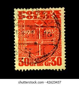 POLAND - CIRCA 1949: A stamp printed in Poland shows Order of the Cross, circa 1949