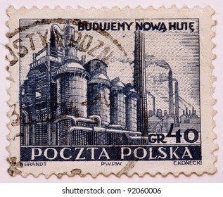 POLAND - CIRCA 1950: A stamps printed in Poland, shows steelmaker, Poland, circa 1950