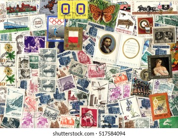 POLAND - circa 1950-1985: Horizontal background of Polish postage stamps including stamps with portraits, animals, transportation, etc