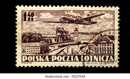 POLAND - CIRCA 1950s: A stamp printed by Poland shows a jet above earth, this is one stamp from a series circa 1950s.